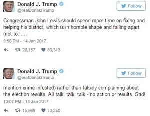 트럼프·존 루이스 의원 비방전..  정통 시비 '파문'