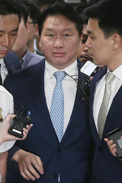 [뉴스핌 포토] '침묵' 최태원, 박근혜 전 대통령 재판 증인 출석