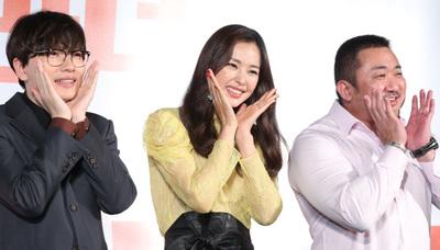 """[뉴스핌 포토] '부라더' 마동석x이하늬x이동휘, """"웃을 준비 되셨습니까?"""""""
