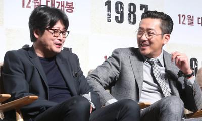 [뉴스핌 포토] '또 만났다' 하정우·김윤석, 어김없이 대립구도...영화 '1987'