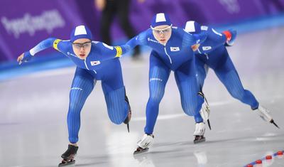 [뉴스핌 포토] 빙속 여자 팀추월, 예선 7위로 준결승 좌절