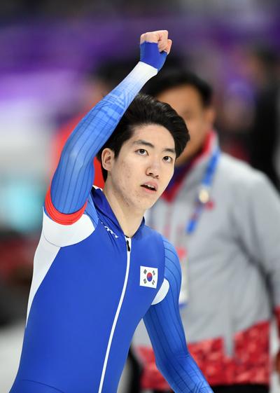 [뉴스핌 포토] '아! 0.01초' 차민규, 빙속 500m 은메달 쾌거