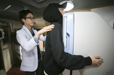 """[뉴스핌 포토] """"결핵 퇴치""""..노량진 학원가 일제 검진"""