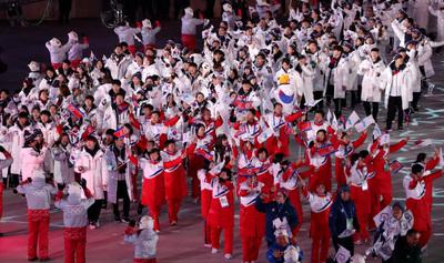 [뉴스핌 포토] 하나된 남북 선수단, 마지막도 함께!