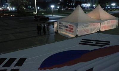 """[뉴스핌 포토] 늦은 밤 불 밝힌 한국당 철야농성 """"국기문란 극심"""""""