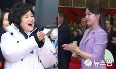 [영상] '남북 퍼스트 레이디' 김정숙·리설주 여사,  환영만찬서 역사적 첫 만남