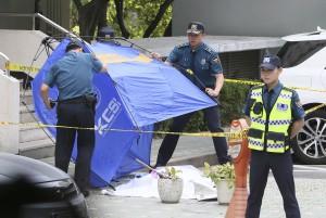 [사진] 노회찬 정의당 원내대표 투신 현장에 세워진 텐트