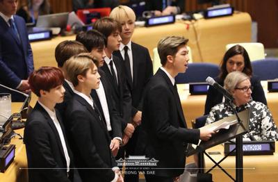 [포토스토리] 청와대 페이스북에 게시된  유엔총회장의 '방탄소년단(BTS)'