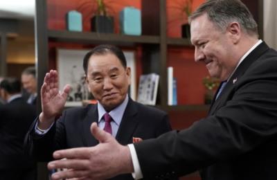 [사진] 워싱턴DC 에서 만난 마이크 폼페이오 美국무장관 과 김영철 北노동당 부위원장