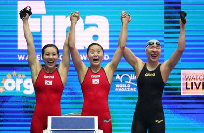 [광주세계수영] 여자 계영 400m, 대회 첫 한국신... 결승행은 무산