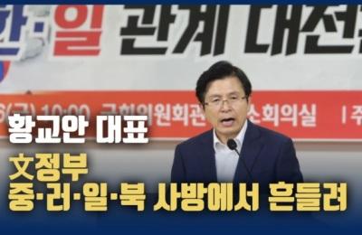"""[영상] 황교안 """"文정부, '겁 먹은 개'소리 들으며 중·러·일·북 사방에서 흔들려"""""""