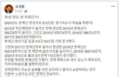 """오세훈 """"513조 슈퍼예산, 곳간 풀어 표 사려는 정권 행태 사악해"""""""