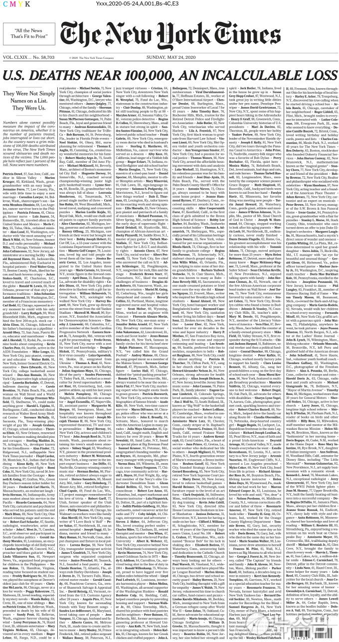 [사진] 코로나19 사망자 이름으로 가득 찬 뉴욕타임스 1면