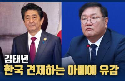 """김태년 """"한국 견제하는 아베의 속 좁은 소국 외교 유감"""""""